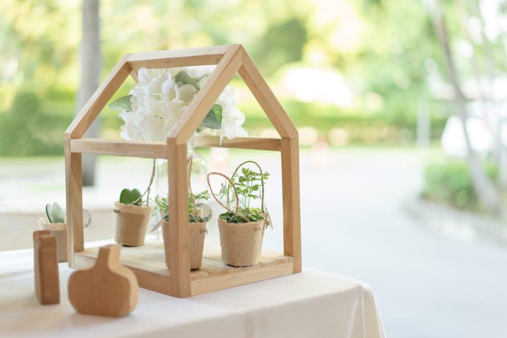 Das Mini Gewächshaus dient oft als Dekoration.